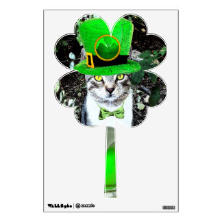 ST PATRICK'S  DAY CAT  CLOVER WALL DECAL