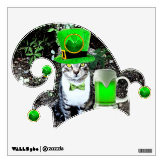 ST PATRICK'S  DAY CAT,GREEN IRISH BEER AND ELF HAT WALL STICKER