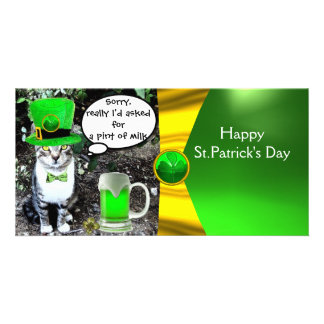 ST PATRICK'S DAY CAT,GREEN IRISH BEER ,GOLD BOW PHOTO CARD