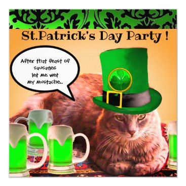 Wedding Themed ST.PATRICK'S DAY CAT LEPRECHAUN HAT IRISH BEER CARD