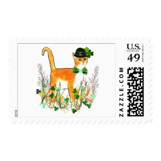 St. Patrick's Day Cat Postage Stamp