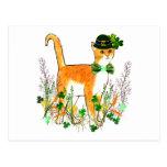 St. Patrick's Day Cat Postcard