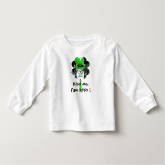 ST PATRICK'S DAY CAT WITH GREEN CLOVER TODDLER T-SHIRT