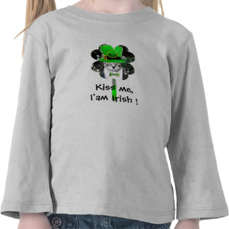 ST PATRICK'S DAY CAT WITH GREEN CLOVER TEES
