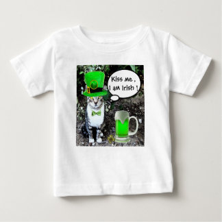 ST PATRICK'S DAY CAT WITH GREEN IRISH BEER BABY T-Shirt