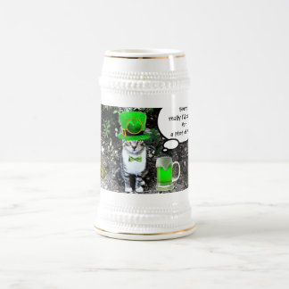 ST PATRICK'S  DAY CAT  WITH GREEN IRISH BEER BEER STEIN