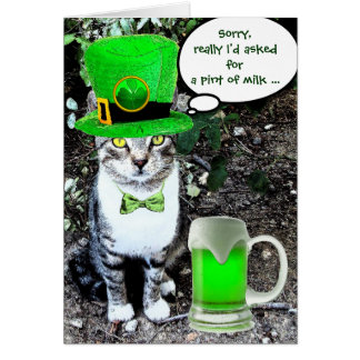 ST PATRICK'S  DAY CAT  WITH GREEN IRISH BEER CARD