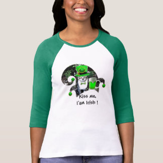ST PATRICK'S DAY CAT WITH GREEN IRISH BEER,ELF HAT TEES
