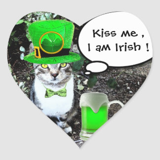 ST PATRICK'S  DAY CAT  WITH GREEN IRISH BEER Heart Heart Sticker