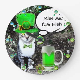 ST PATRICK'S DAY CAT WITH GREEN IRISH BEER LARGE CLOCK