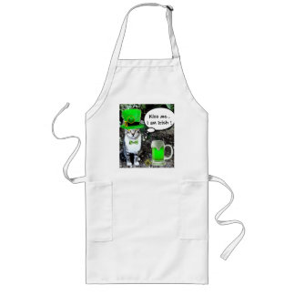 ST PATRICK'S  DAY CAT  WITH GREEN IRISH BEER LONG APRON