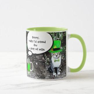 ST PATRICK'S  DAY CAT  WITH GREEN IRISH BEER MUG