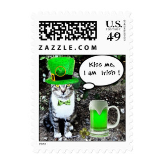 ST PATRICK'S DAY CAT WITH GREEN IRISH BEER POSTAGE