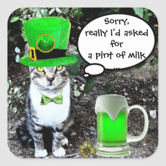 ST PATRICK'S  DAY CAT  WITH GREEN IRISH BEER SQUARE STICKER