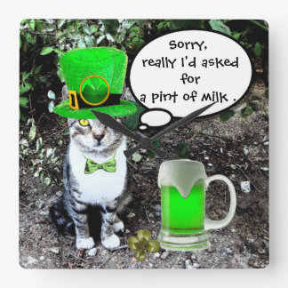 ST PATRICK'S DAY CAT WITH GREEN IRISH BEER SQUARE WALL CLOCK