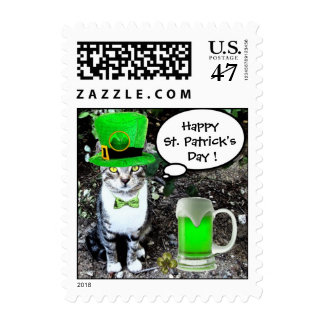 ST PATRICK'S DAY CAT WITH GREEN IRISH BEER STAMP