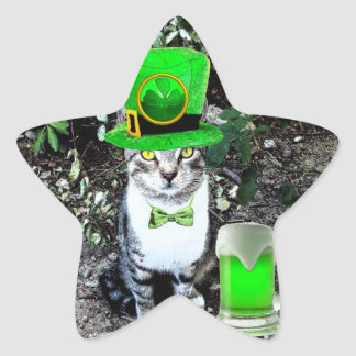 ST PATRICK'S  DAY CAT  WITH GREEN IRISH BEER star Star Sticker