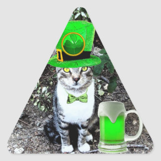 ST PATRICK'S  DAY CAT  WITH GREEN IRISH BEER TRIANGLE STICKER