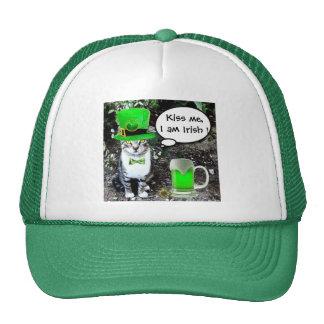 ST PATRICK'S  DAY CAT  WITH GREEN IRISH BEER TRUCKER HAT