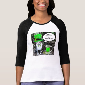 ST PATRICK'S DAY CAT WITH GREEN IRISH BEER TSHIRTS