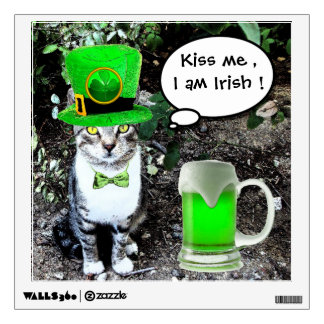 ST PATRICK'S  DAY CAT  WITH GREEN IRISH BEER WALL STICKER