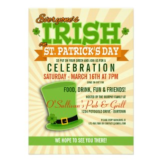 St. Patricks Day Celebration Party Invitations