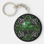 St. Patrick's Day Celtic knot design Basic Round Button Keychain
