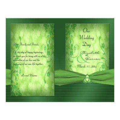 St. Patrick's Day Celtic Love Knot Wedding Program