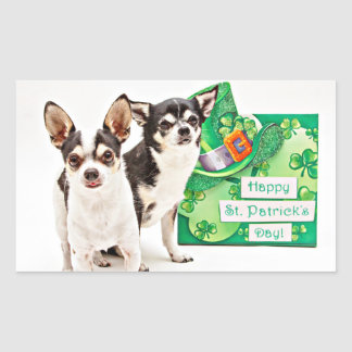 St. Patrick's Day Chihuahua's Rectangular Sticker