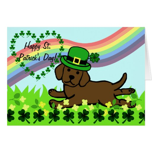 St. Patrick's Day Chocolate Lab Baby Card
