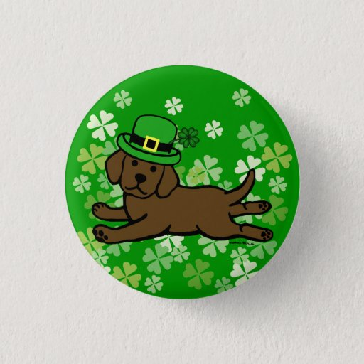 St. Patrick's Day Chocolate Lab Baby Pinback Button