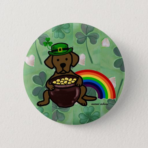 St. Patrick's Day Chocolate Lab Rainbow Pinback Button