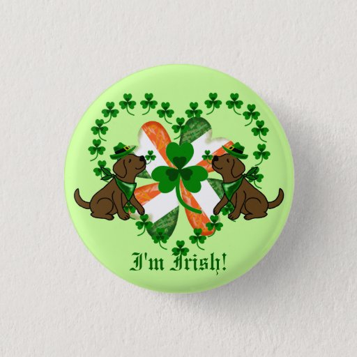 St. Patrick's Day Chocolate Labrador Button