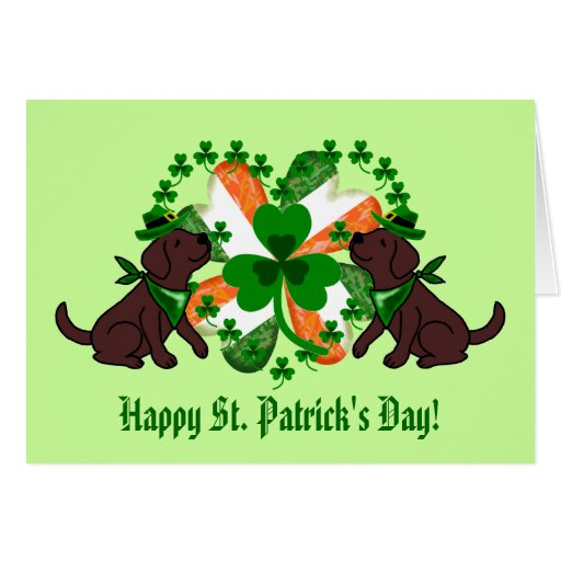 St. Patrick's Day Chocolate Labrador Card