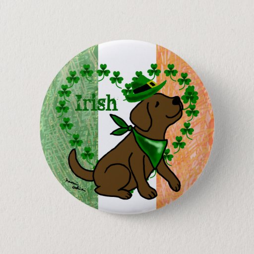 St. Patrick's Day Chocolate Labrador Pinback Button