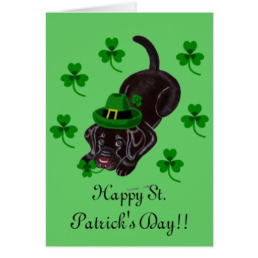 St. Patrick's Day Chocolate Labrador Puppy Greeting Card