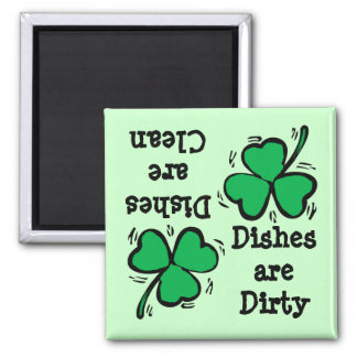 St. Patrick's Day  Clover Clean Dirty Diswasher 2 Inch Square Magnet