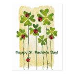 st. patrick's day clover & ladybugs postcards
