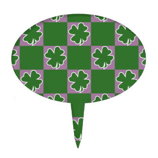 St. Patrick's Day Clover-Leaf Seamless Pattern Cake Toppers
