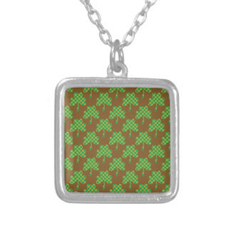 St. Patrick's Day Clover-Leaf Seamless Pattern Personalized Necklace