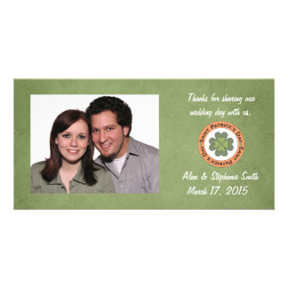 St Patrick's Day Clover Stamp Thank You Photo Card