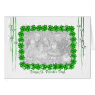 St. Patrick's Day Clover Stars Wide (photo frame) Greeting Card