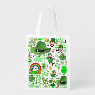 St Patrick's Day Collage Grocery Bag