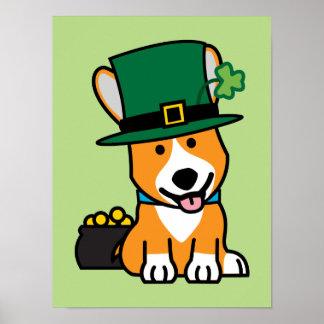 St. Patrick's Day Corgi Leprechaun Dog Puppy Doggy Poster