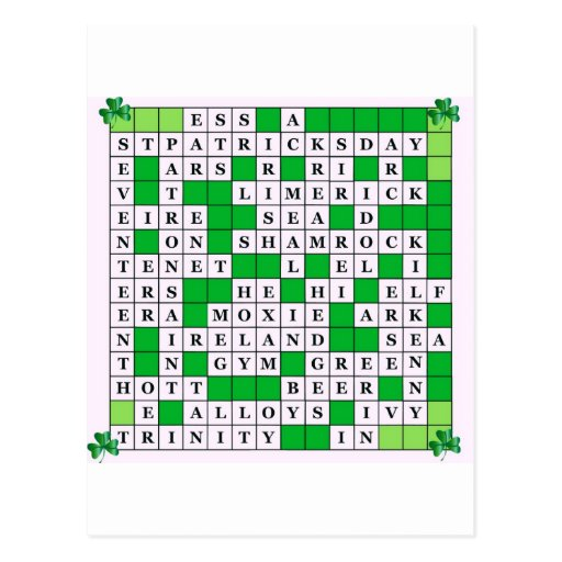 St Patrick's Day Crossword on Postcards