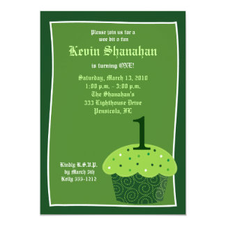 St. Patrick's Day CUPCAKE Birthday Invitation 5x7