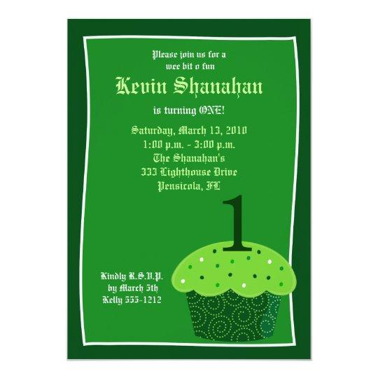 St. Patrick's Day CUPCAKE Birthday Invitation 5x7
