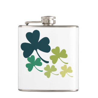 St patricks day cute shamrock flasks