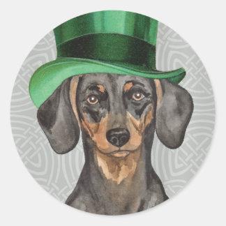 St. Patrick's Day Dachshund Classic Round Sticker