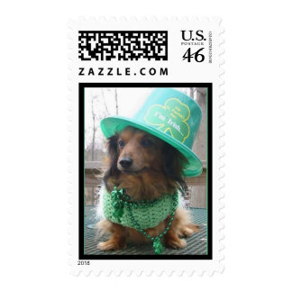 St. Patrick's Day Dachshund Postage Stamps